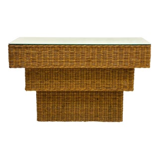 Mid-Century Modern Graduated Wicker Console Table For Sale