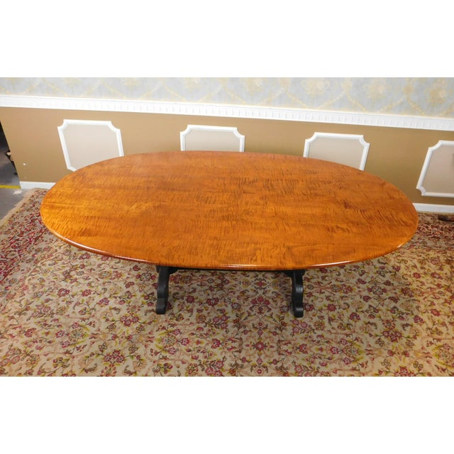 Tiger Maple Oval Country Dining Table - Image 3 of 10