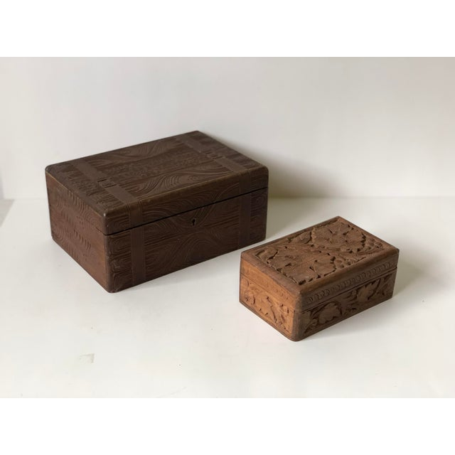 Brown English Wooden Carved Boxes, 19th Century - a Pair For Sale - Image 8 of 13