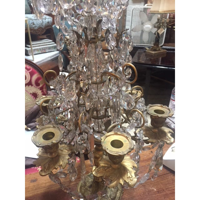Early 19th Century Early 19th Century French Dore Bronze & Crystal Girandoles - a Pair For Sale - Image 5 of 12