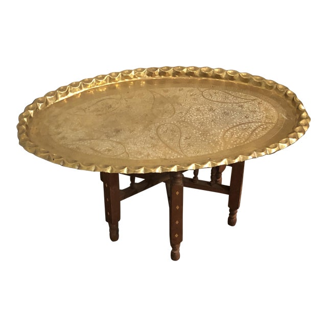 20th Century Morrocan Style Brass Tray Table For Sale