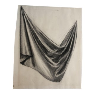 1950s Vintage Drapery Study Drawing For Sale
