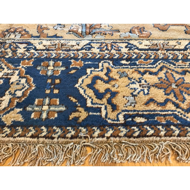 Blue Antique Blue & Tan Turkish Rug - 8′10″ × 11′7″ For Sale - Image 8 of 12