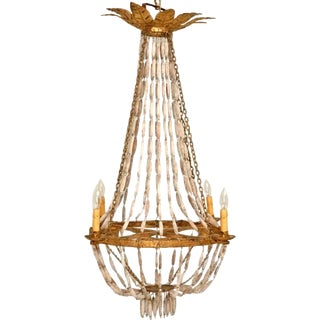 Italian Wood and Steel Gilded Chandelier For Sale