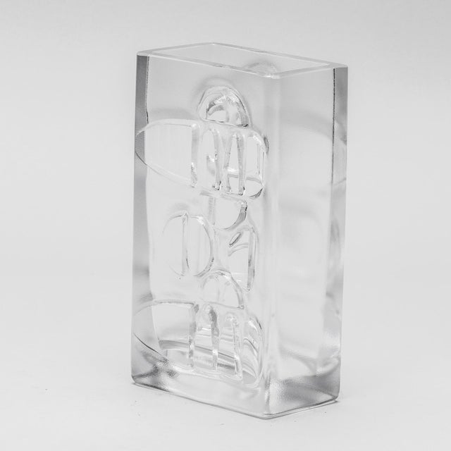 Abstract Scandinavian Molded Clear Glass Vase For Sale - Image 3 of 6