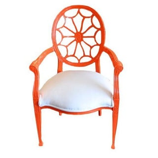 High Gloss Orange Wheel Back Armchair