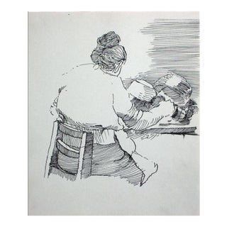 Woman in the Kitchen Modernist Ink Drawing 1940-60s For Sale