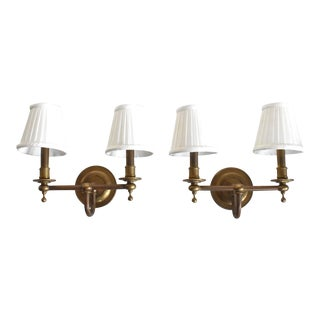 Vintage Brass Double Wall Sconce Lamps With Shades - a Pair For Sale