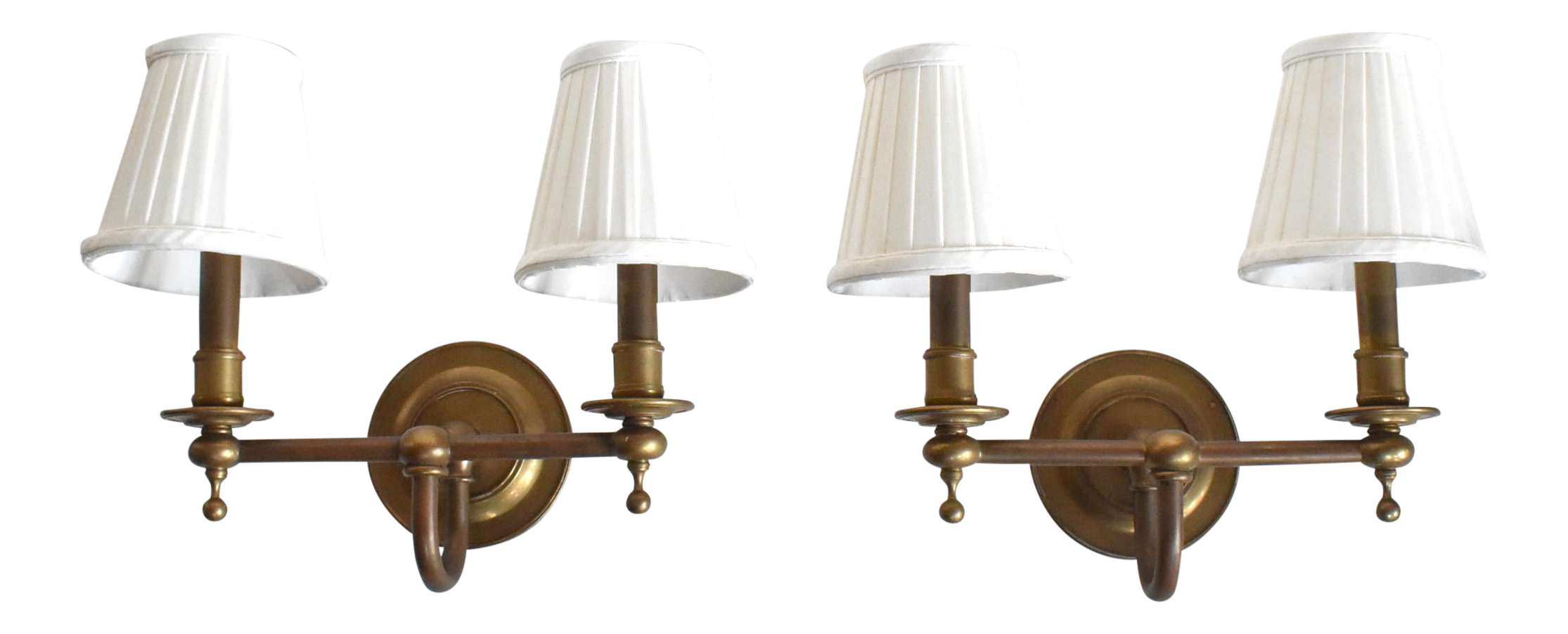 Vintage Brass Double Wall Sconce Lamps With Shades A Pair Chairish