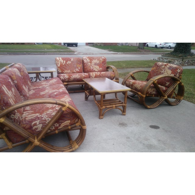 For your consideration, a Super Cool Paul Frankl style Pretzel Arm Sofa Set. This set includes a Chair, Coffee Table, Side...