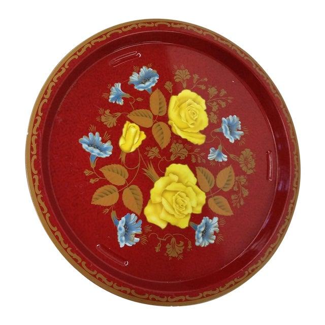Vintage Red Metal Floral Tray - Image 1 of 9