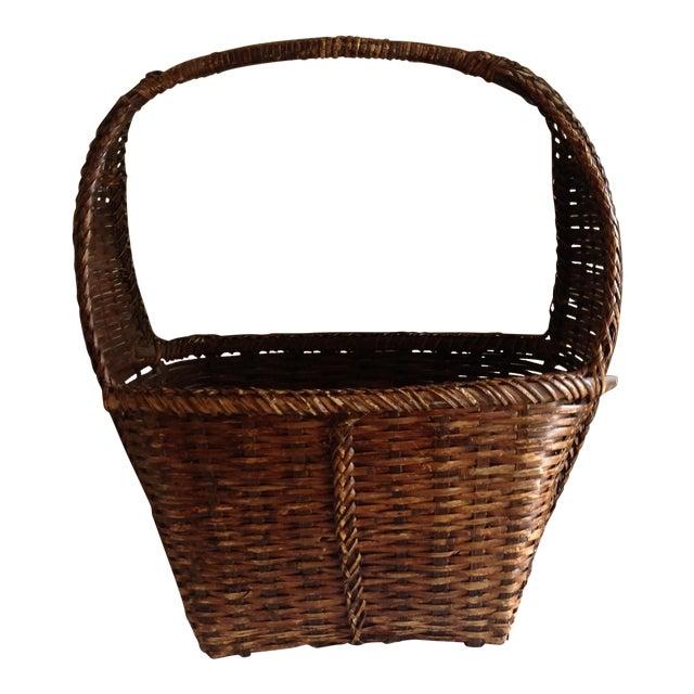 Rustic Woven Wicker Basket For Sale