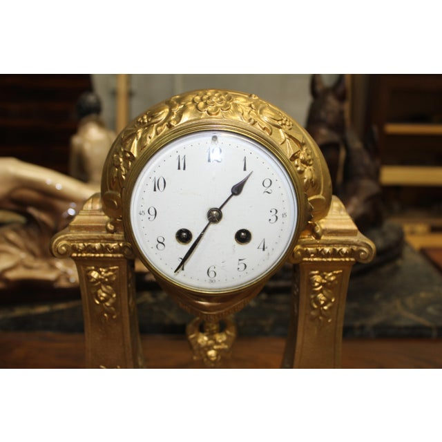 1940s 1940s French Art Deco Gilt Clock Garniture Set Signed G. Limousin - 3 Pc. Set For Sale - Image 5 of 11