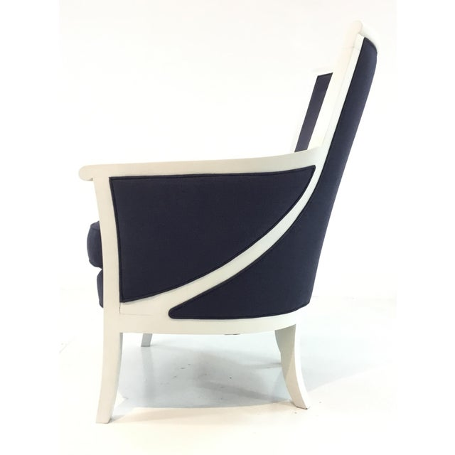 2010s Transitional Navy and White Hickory Chair Breck Chair For Sale - Image 5 of 6