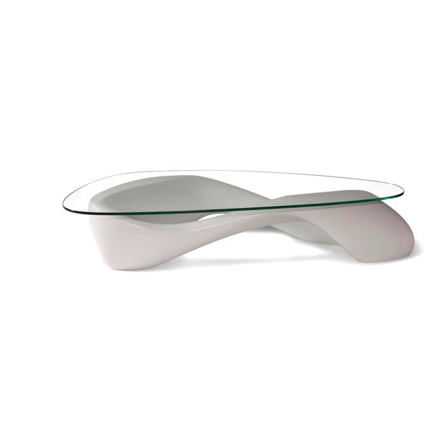 Amorph White Lust Coffee Table With Organic Shape Glass Top For Sale - Image 10 of 10