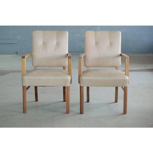 Extremely high quality and very stylish executive desk chairs made in Denmark by unknown furniture maker circa 1960. Made...