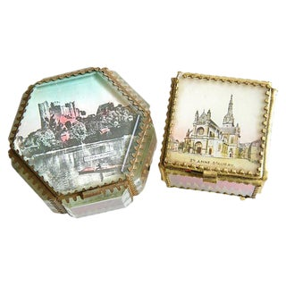 Antique French Souvenir Boxes - a Pair For Sale