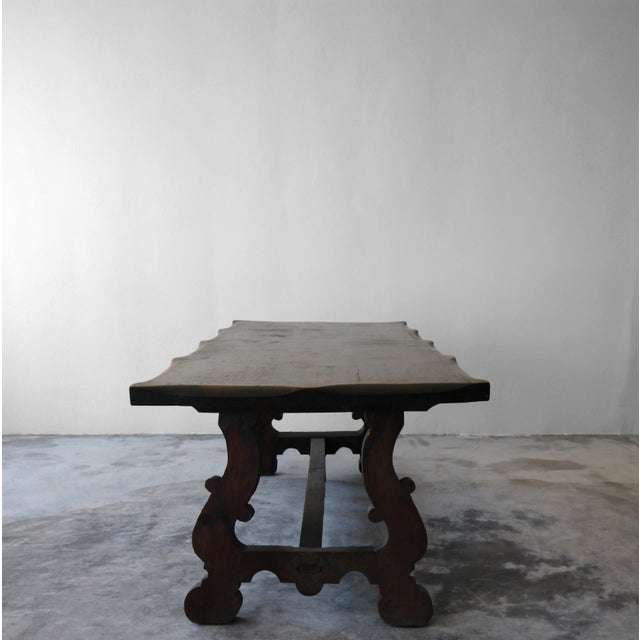 Antique Spanish Industrial Farm Style Trestle Dining Table For Sale In Las Vegas - Image 6 of 7
