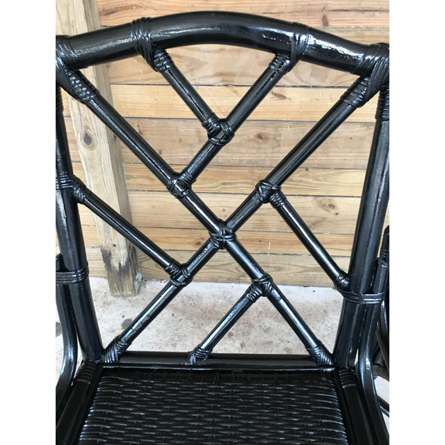 Coastal Regency Rattan Black Lacquered Chinese Chippendale Chairs-A Pair For Sale - Image 4 of 10