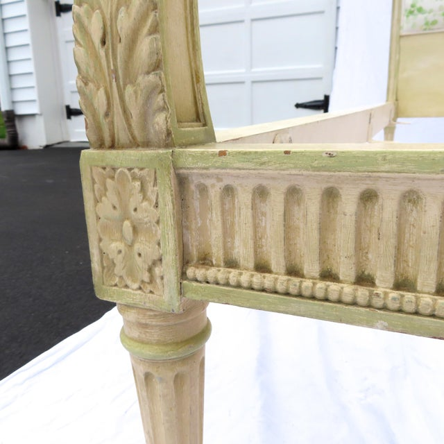 Wood Pair Louis XVI Style Twin Beds Upholstered Headboard Antique Painted Solid Wood For Sale - Image 7 of 13