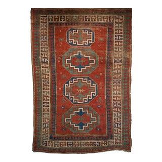 Late 1800s Kazak Rug- 4′2″ × 7′4″ For Sale