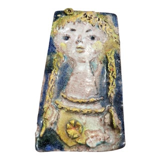 Mid-Century Modern Majolica Ceramic Wall Sculpture by Ugo Lucerni For Sale