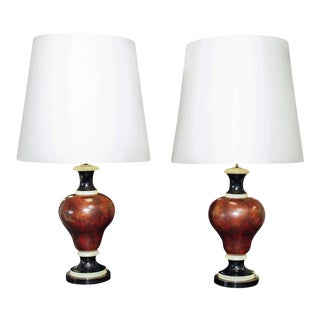 Baluster Form Faux Marble Lamps - A Pair For Sale