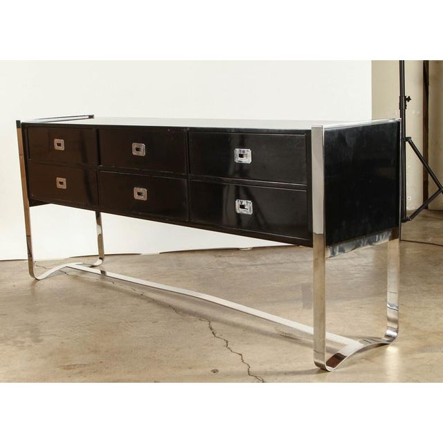 Steel & Wood Sideboard with Black Enamel Finish - Image 5 of 9
