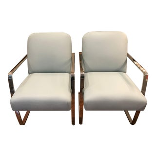 """Pair of J. Robert Scott """"Denis"""" Occasional Chairs in Spinneybeck Leather For Sale"""
