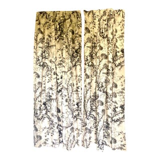 Custom Linen Blend Chinoiserie Curtains -- Two Pairs Available For Sale