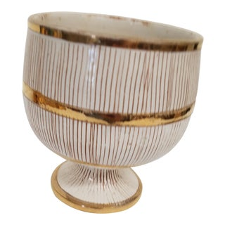 1950s Bitossi White & Gold Seta Footed Cup For Sale