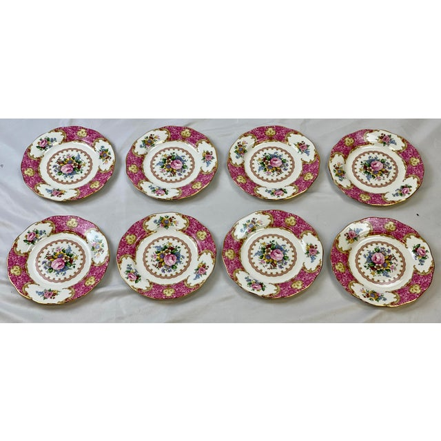 Ceramic Vintage Royal Albert Lady Carlyle Bread & Butter Plates - Set of 8 For Sale - Image 7 of 7
