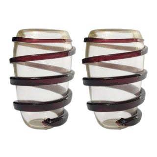 Cenedese Italian Murano Glass Vases - a Pair For Sale