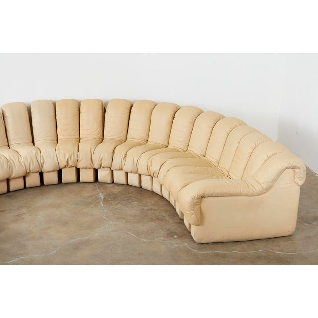 Matched Pair of De Sede Ds600 Non-Stop Leather Sectional Sofas For Sale - Image 4 of 13