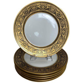 French Black and Gold Service Dinner Plates - Set of 6 For Sale