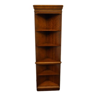 Hooker Walnut Italian Provincial Corner Bookcase Wall Unit For Sale