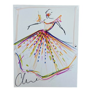 """""""Vibrant Embellished Flutter Sleeve Gown"""" Original Christian Siriano Sketch For Sale"""