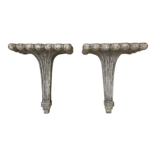 Shabby Chic Neutral Tone Wall Brackets - a Pair For Sale