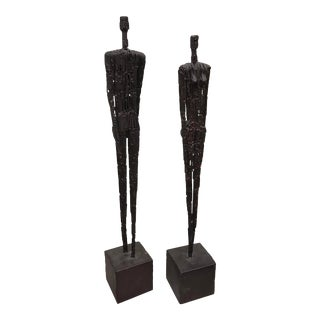 Contemporary Metal Figures of Man and Woman - a Pair For Sale