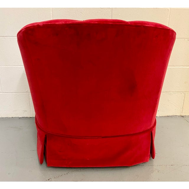 1960s Vintage Red Velvet Button Tucked Arm Chair For Sale - Image 4 of 9