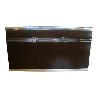 1970s Pierre Cardin Brown & Silver Credenza For Sale