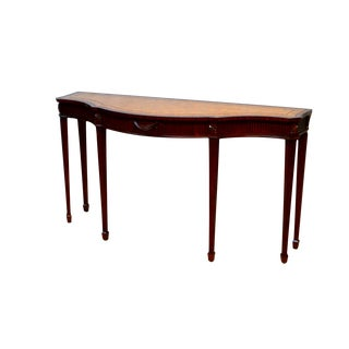 20th Century Federal Maitland Smith Mahogany Leather Top Console Hall Table For Sale