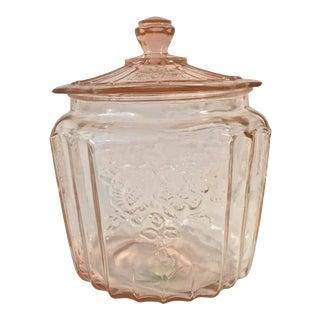 Vintage Anchor Hocking Pink Depression Biscuit Jar For Sale
