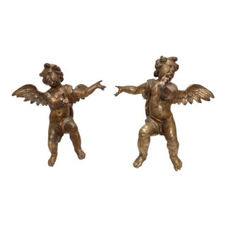 18th Century Angels on Lucite Stands - A Pair For Sale