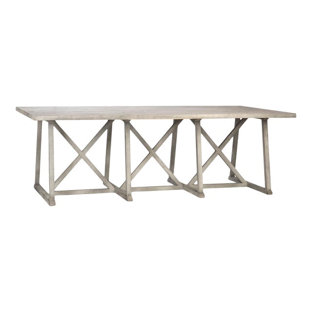 Washed Wood Farmhouse Dining Table For Sale