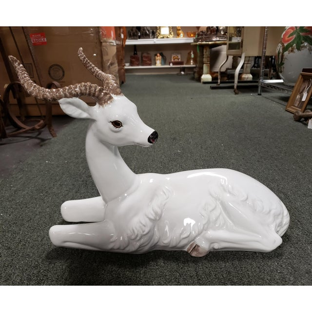 Ceramic Mid 20th Century Italian Ceramic Recumbent Gazelle Sculpture For Sale - Image 7 of 7