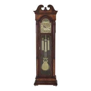 Sligh Cherry Grandfather Clock With Elm Highlights For Sale