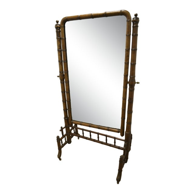 19th Century French Faux Bamboo Cheval Mirror For Sale