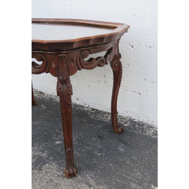 French Early 1900s Hand Carved Coffee Table With Serving Glass Tray 2357 For Sale In Miami - Image 6 of 11