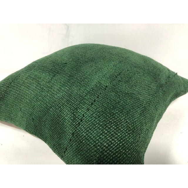 Tribal Turkish Handmade Antique Green Tribal Decorative Kilim Pillow For Sale - Image 3 of 6
